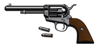 Old revolver with two bullets in realistic style. Illustration with old revolver with two bullets isolated on white background in a detailed realistic style vector illustration