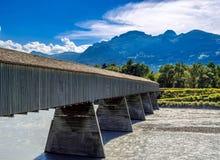 Old Rhine Bridge from Switzerland to Liechtenstein, Vaduz, Liechtenstein, Europe stock photography