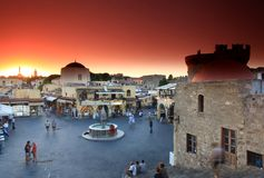 Free Old Rhodes Town Sunset Royalty Free Stock Images - 26777539