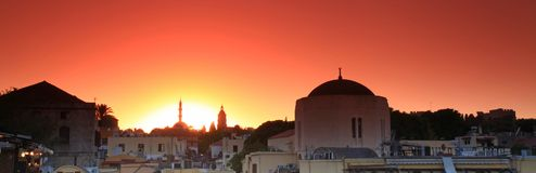 Old Rhodes town sunset Royalty Free Stock Image