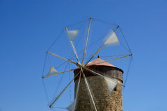 Old Rhodes windmills, Greece Stock Image