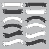 Old Ribbon Banner ,black And White. Royalty Free Stock Photo