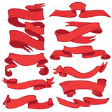 Old ribbon banner set .Hand drawing retro.Red Stock Photography