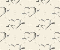 Old ribbon with message I love you, heart and arrow in vintage style engraving on a beige background. Greeting card for Stock Image