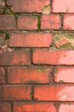 Old rickety brick wall painted red Stock Photography