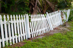 Old rickety fence in need of painting, fixing or replacing. Abandoned picket fence falling over as it rots Royalty Free Stock Photo