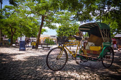 Old rickshaw resting in the shade of acacia trees Royalty Free Stock Images