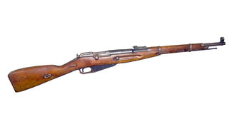 Old rifle isolated. Russian carabine (short rifle) (Mosin system, model of 1938 stock photography