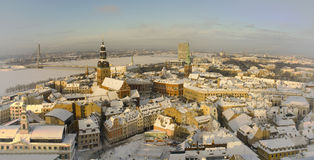 Old Riga. View of old Riga and Daugava river in winter Royalty Free Stock Images