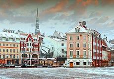 Old Riga city at the early winter morning Stock Photos