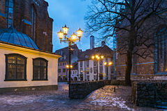 Old Riga city at night Royalty Free Stock Image