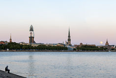 Old Riga city at rise of supermoon on August 29, 2015 Stock Image