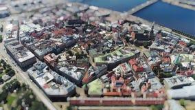 Old Riga city Tiltshift Miniature timelapse Road cars Traffic Bridge drone Timelapse in motion stock footage