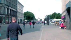 Old Riga evening street bokeh background Brivibas street stock video
