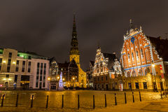 Old Riga at Night Stock Image