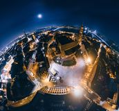 Old Riga Night Planet. Bridge roads in Riga city 360 VR Drone picture for Virtual reality. Down Town Riga, Latvia, virtual, reality vr technology 360 life stock photography
