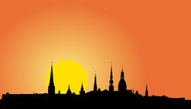 Old Riga panorama silhouette. Illustration of Old Riga panorama silhouette at sunrise Royalty Free Stock Photography