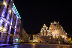 Old Riga square. House of Blackheads in Old Riga Royalty Free Stock Photos