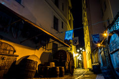 Old Riga street. Narrow medieval street in Old Riga Royalty Free Stock Image