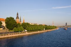 Old Riga in summertime, Latvia. Classic panorama of Old Riga in Latvia, view from Cable-stayed bridge over the river of Daugava. Riga castle, Riga Cathedral and royalty free stock photos