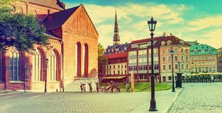 Dome square in old Riga city, Latvia Royalty Free Stock Photography