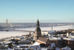 Old Riga in winter from above Stock Photos