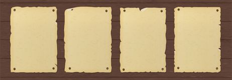 Old ripped brown paper poster nailed to a wooden wall. royalty free illustration