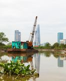 River barge crane on the Saigon Royalty Free Stock Image