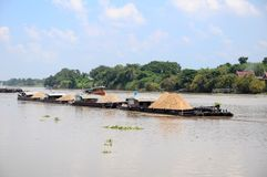 Old river cargo boats Royalty Free Stock Photos
