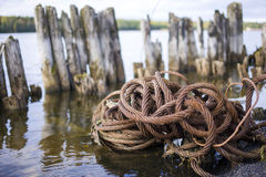 Old river iron cable. Royalty Free Stock Image