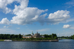 Old river port on the banks of the Volga Stock Photo