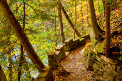 Old river trail. Old trail above the Chagrin River near Cleveland Ohio Stock Photography