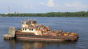 Old river tugboat stock video footage