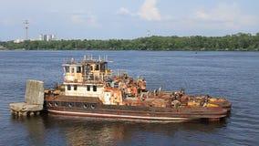 Old river tugboat. On Dnieper river in Kiev, Ukraine stock video footage