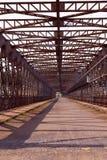 Old riveted steel bridge. Across the Elbe (Czech Republic, Eastern Europe Royalty Free Stock Image