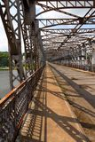 Old riveted steel bridge across the Elbe Stock Image