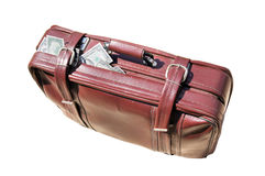 Old road bag  with money Stock Images