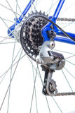 Old road bicycle rear hub, sprockets and derailleur. Stock Photos