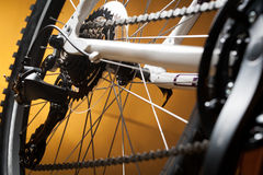 Old road bicycle rear hub, sprockets and derailleur Royalty Free Stock Photography