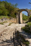 Old road in Chufut Kale, XI century,. Old road in jewish town Chufut Kale, XI century, Crimea Stock Photos