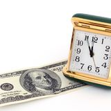 Old road clock. Retro clock. Time is money royalty free stock photography
