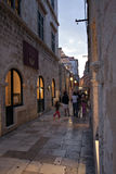 Old road in Dubrovnik at dusk Stock Photos