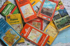 OLD ROAD EUROPE MAPS stock photography