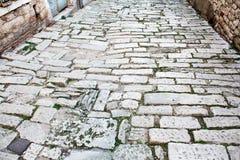 Old road Roman Empire time. Croatia Pula. Street day time stock photos