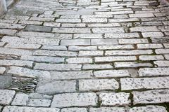 Old road Roman Empire time. Croatia Pula. Street day time stock photography