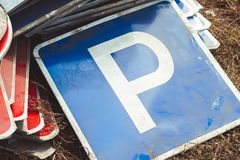 Old road signs royalty free stock photo