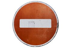 Old road sign `No entry` isolated on white royalty free illustration