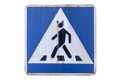 Old road sign `Pedestrian crossing` isolated on white. royalty free illustration