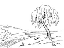 Old road willow tree graphic art black white landscape sketch illustration Royalty Free Stock Photos
