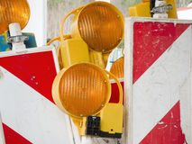 Old roadblock signs Stock Images